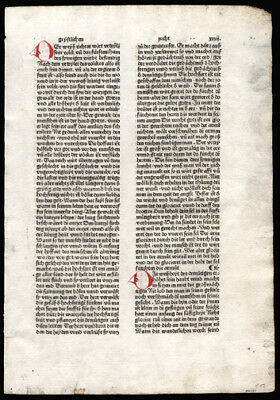 Incunable Leaf 1495 Pre-Luthern Bible in High German Hand-Colored Initials