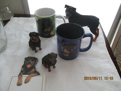 3 Rottweiler Figurines, 2 Mugs Cups, 3D By Paw Prints, And 1 Notepad
