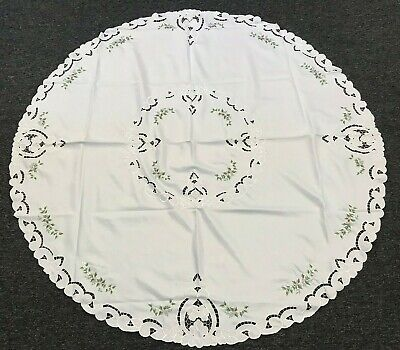 SALE 60x60'' Round White Embroidered Handmade Rose Bud Embroidery Tablecloth