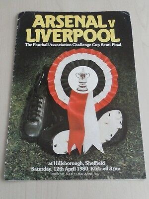 Arsenal versus Liverpool 1980 FA Cup Semi Final programme