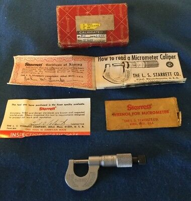"""Starrett # 230Rl Micrometer Excellent In Box Has Special Point Faces 1"""" Usa"""