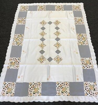 SALE 54x72'' Rectangular Embroidered Floral Embroidery Cutwork Fabric Tablecloth