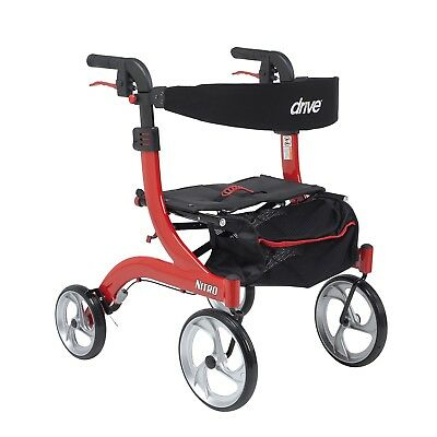 Drive Medical RTL10266-H, Hemi Height, Nitro Euro Style Walker Rollator, RED