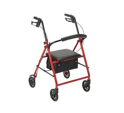 NEW Drive Medical R726RD 4 Wheel Rollator Walker w/ Folding Back Padded Seat red