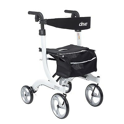 Drive Medical RTL10266-H, Hemi Height, Nitro Euro Style Walker Rollator, White