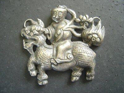 2-7/8 inches wide x 2-1/2 inches tall Antique Chinese Pendant, BOY ON QILIN
