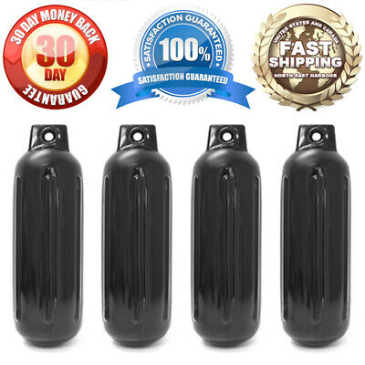 """4 NEW RIBBED BOAT FENDERS 4.5"""" x 13"""" BLACK SINGLE EYE BUMPERS MOORING PROTECTION"""