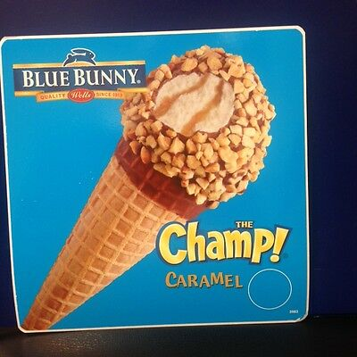 One (1) Blue Bunny The Champ Caramel Ice Cream Cone Truck Decal/Sticker