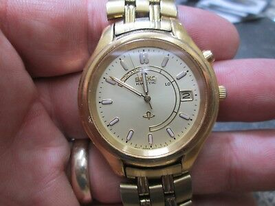Seiko Kinetic Gold Stainless Steel Men's RUNNING WRIST Watch WITH ORIGINAL BAND