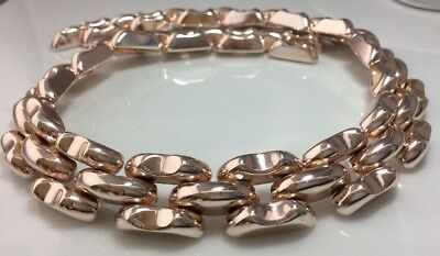 Vintage Jewellery Gorgeous Signed Machine Age Rose Gold Coloured Link Necklace