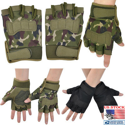 US Men' Half Finger Tactical Military Army Paintball Airsoft Outdoor Gloves