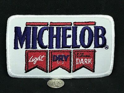 """MICHELOB LIGHT DRY CLASSIC DARK Beer Vintage Embroidered Iron On Patch*4.25""""x2.5"""