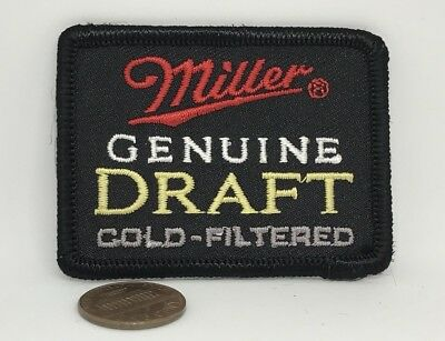 RARE*MILLER GENUINE DRAFT COLD-FILTERED BEER*EMBROIDERED IRON ON PATCH*2.5x1.75