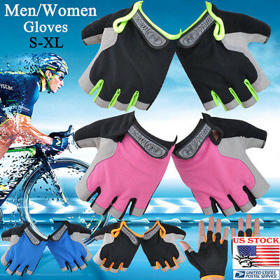 US Men Women Outdoor Sports Bicycle Riding Fingerless Half-finger Cycling Gloves