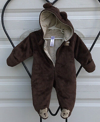 Just One You Infant 3 Month Brown Bear One Piece Hooded Bear ears Bears on Feet
