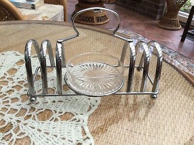 Vintage Toast Rack With Glass Marmalade Dish