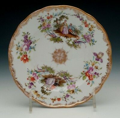 "Meissen 19th Century 6"" plate with Hand Painted Courting Couple"