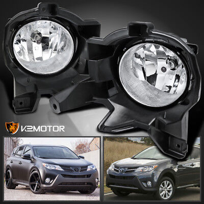 For 2013-2015 Toyota RAV4 Clear Bumper Fog Lights Driving Lamps+Bulbs+Switch