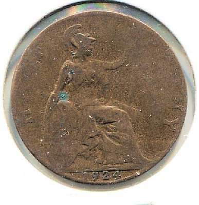 Great Britain 1924 Half Penny Coin - United Kingdom England King George V