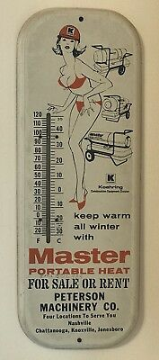 Master Portable Heat Thermometer Tin Pin Up Girl Works Great!