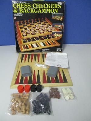 Vintage 3 in 1 GAMES SET Backgammon Chess Checkers Complete in box by Challenge