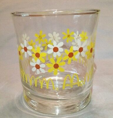 "Vintage ""McDonald's"" Juice Glass White & Yellow Daisy Flowers Libbey Glass"