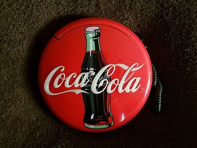 """Coca Cola Telephone Sign Lighted Wall Hanging 1995 Works 12"""" Round"""
