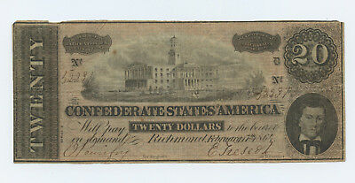 1864 Confederate States America $20 Twenty Dollar Bill Civil War - #14014