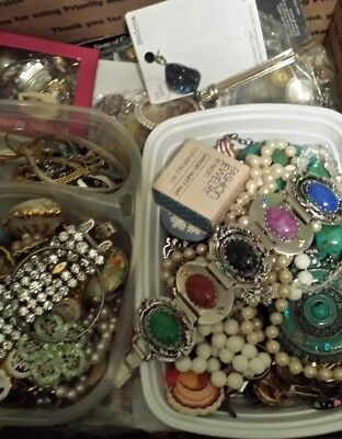 Huge Vintage - Now Jewelry Estate Lot Large Flat Rate Box Junk Craft 15 lbs