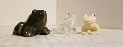 Vintage Frog Figurines Miniatures Lot Of 3 Bone China Polished Stone Blown Glass