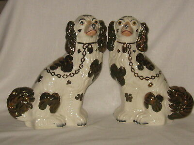 Antique  Staffordshire  Copper Luster Spaniel Dogs