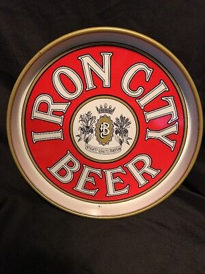 "Vintage 12"" Red Gold & White Iron City Beer Tray"