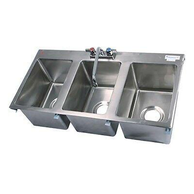 """BK Resources BK-DIS-1014-3-P-G - Drop-In Sink Three Compartment 36""""W x 18""""D NEW!"""