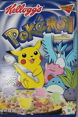 Vtg Kellogg's Pokemon Limited Edition Holographic Cereal Box Flat Pikachu 2000