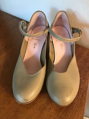Capezio Tan Character Jazz Mary Jane Dance Heels Shoes, Size 5