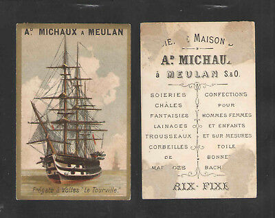 1880s MICHAUX a MEULAN { FREGATE a VOILES Le Tourville SHIP } FRENCH TRADE CARD