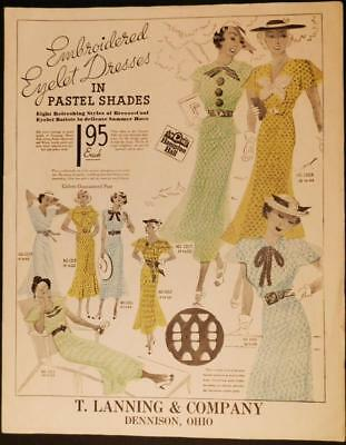1930's T Lanning & Company Embroidered Eyelet Dress Poster Dennison Ohio FD8-1