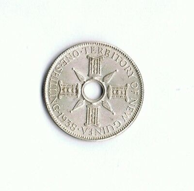 1938 Territory Of New Guinea Shilling Coin Nice Details