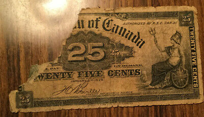 1900 Dominion Of Canada Paper Money 25 Cents 1900 Paper Bill Damaged