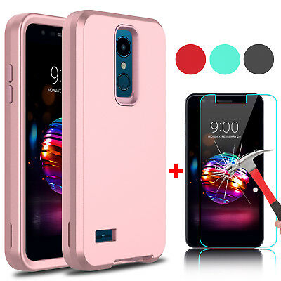 For LG Xpression Plus/Phoenix Plus Shockproof Phone Case+Glass Screen Protector