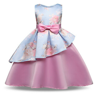 AU Toddler Kid Girl Flower Bowknot Wedding Bridesmaid Pageant Party Formal Dress