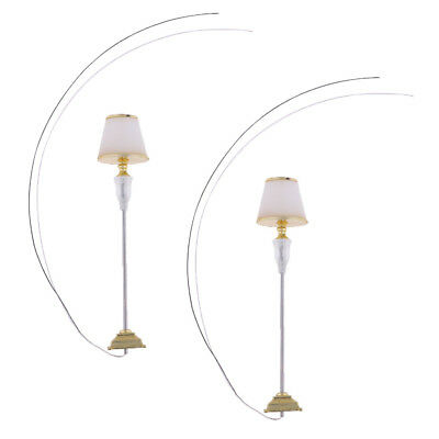2 Pcs Floor Lamp Dollhouse Miniature Led Light Architectural Material Gold