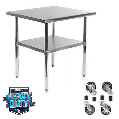"Stainless Steel Commercial Kitchen Work Food Prep Table w/ 4 Casters - 24"" x 30"""