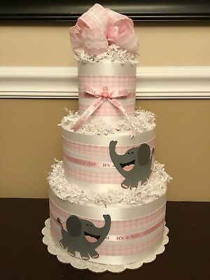 Diaper Cake Elephant Pink Gray & White Baby Girl Shower 3 Tier Centerpiece