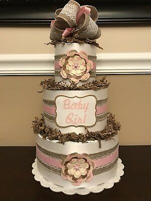 Diaper Cake Rustic Brown Cream Pink Baby Girl Shower Centerpiece