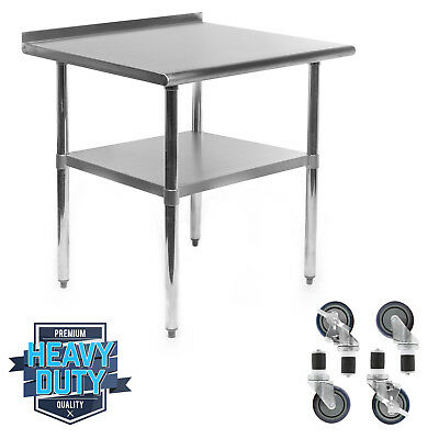"Stainless Kitchen Restaurant Prep Table w/ Backsplash and 4 Casters - 24"" x 36"""