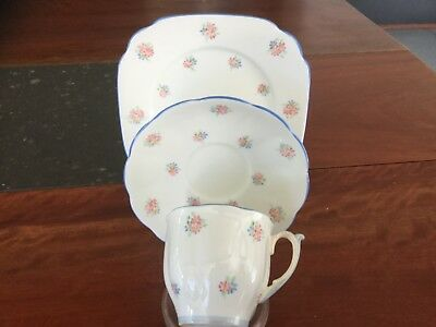 Bell Fine Bone China Trio  Delicate Pattern Blue Trim England