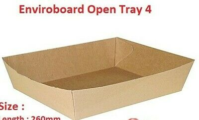 50x Cardboard Tray 4, 260x190x45mm, Enviroboard Disposable, Food Chips Market