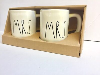 New Rae Dunn MRS. & MRS. mug set coffee LGBTQ Wedding Gift Gay Pride 🏳️‍🌈💜