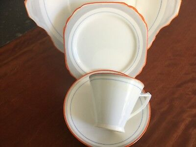 Heathcotf Bone China Trio And Cake Plate Art Deco Style